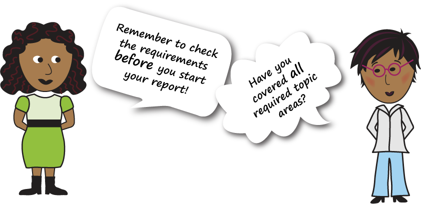 """This graphic shows two people with speech bubbles. One speech bubble says """"Remember to check the requirements BEFORE you start your report!"""" The other says """"Have you covered ALL required topic areas?"""""""