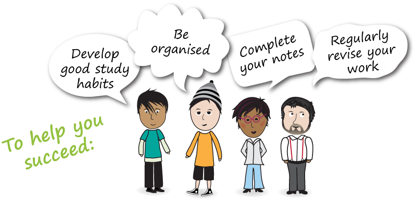 """This graphic has four people with speech bubbles that have suggestions to help you succeed. They say """"Develop good study habits"""", """"Be organised"""", Complete your notes"""", """"Regularly revise your work"""""""